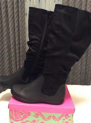New Bealls Bay Studio Leonara Black Suede Flat Wedge Boots 8 5  9 Zippers Comfy