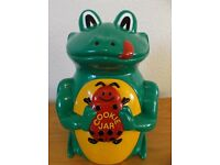 Cookie Biscuit Jar Barrel Frog with Audio Feature Of Frog Call When Opened