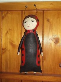 OOAK ALTERED ART UNIQUE LADYBIRD FAIRYTALE DOLL SHELF SITTER HANGING ORNAMENT
