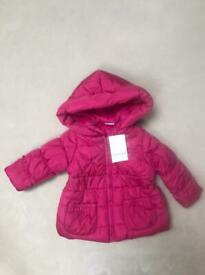 Baby Girl 9-12 Winter Coat Miniclub NEW WITG TAG RRP £20
