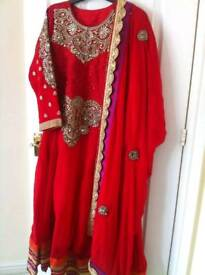 Red chiffon 3 piece suit