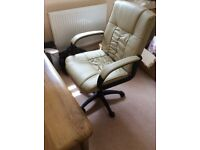 Leather office executive swivel chair, cream, immaculate condition, very comfortable
