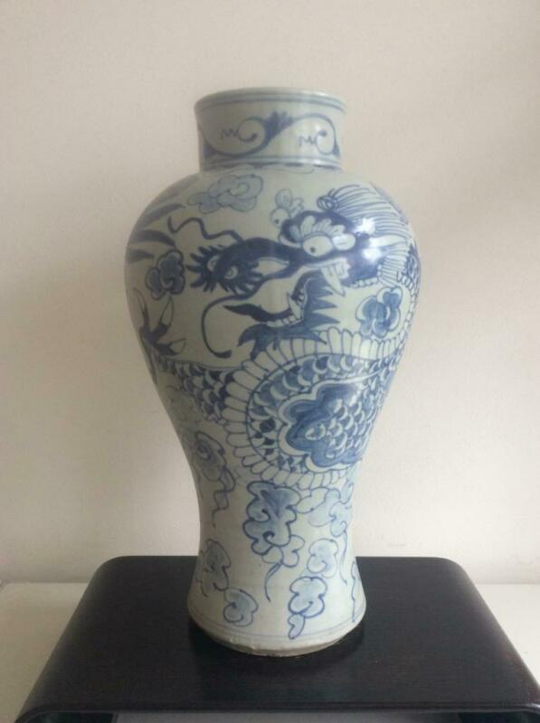 Korean Joseon Dynasty Dragon Large Jar Vase [ Reproduction ] / H 47.7[cm]