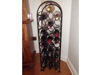 28 bottle black metal wine rack