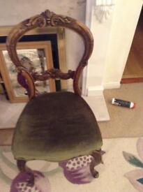 Walnut bedroom chair.