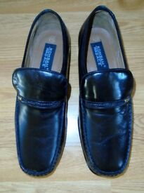 MENS BLACK LEATHER FORMAL SHOES - ROMBAH WALLACE SIZE 12 WITH LEATHER SOLES - WORN ONCE