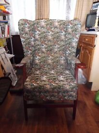 Hand made arm chair with back support