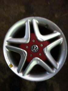 "4 - VW Golf 16"" Alloy Rims (5X100) with Red Center Caps"