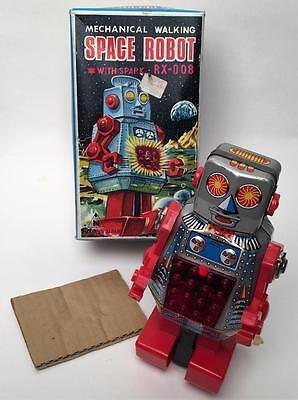 VINTAGE NOGUCHI  RX-008 MECHANICAL TIN  WIND UP SPACE ROBOT NMIB!!