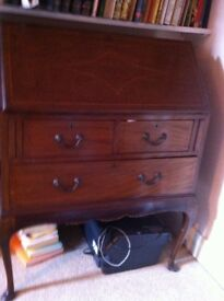 Victorian/Edwardian inlaid, mahogany bureau-desk for sale