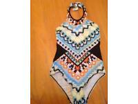Halter neck swimming costume