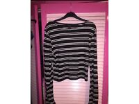 NEW! Black and white striped long sleeve crop top