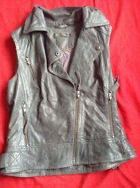 Mint Velvet Grey Real Leather Jacket Size 10