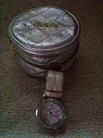 Women's Guess Watch - white band with diamond face