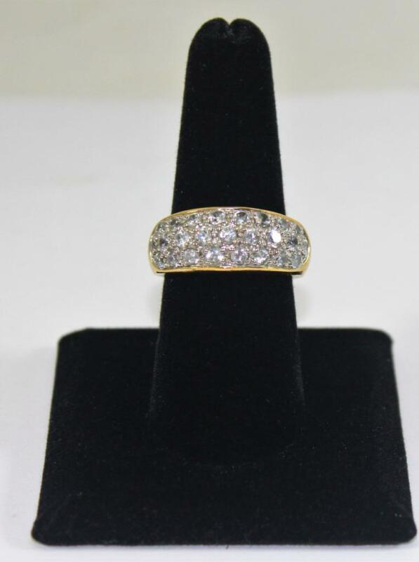 Vintage Ladies Gold Tone Clear Stones Cocktail Ring Costume Jewelry Size 8