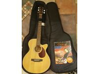 Electro Acoustic Freshman Guitar with Ritter guitar bag and beginners guitar guide