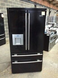 Ex Display Black Gloss RangeMaster A+++ Total No Frost American Fridge Freezer With Water Dispenser