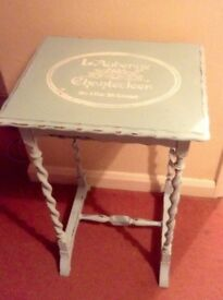 Duck Egg side table with French Stencil