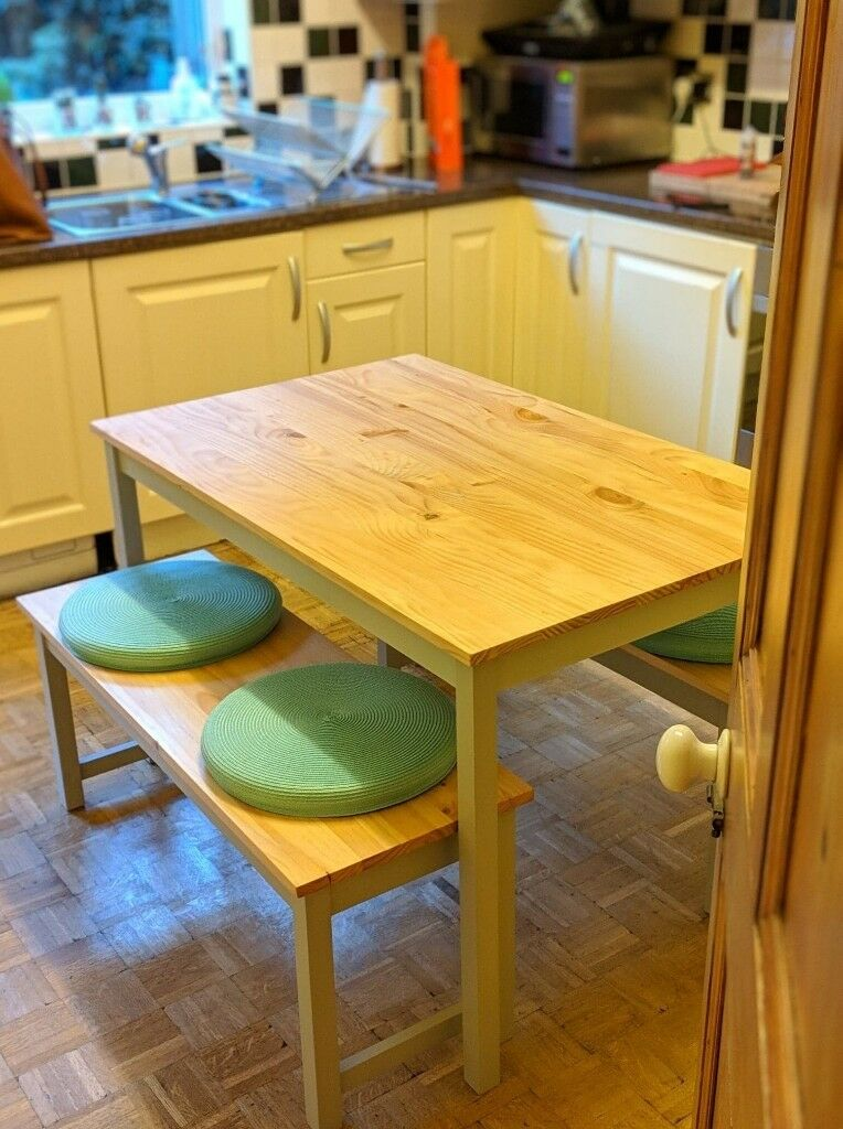 Pine And Grey Dining Table With Two Benches Teal Seat Cushions