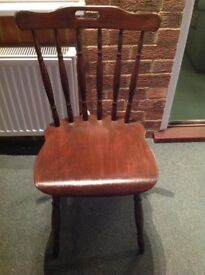 Antique restored single stick back chair with reversible seat pad. (Collection only)