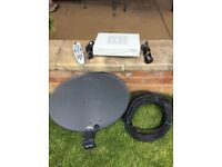Sky satellite dish with digibox, cables, & remote
