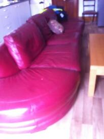 Red leather corner sofa for sale Cheap