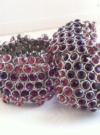 Beautiful large purple diamante bracelets. Elasticated for good fit.