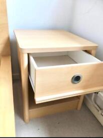 IKEA LIGHT OAK 1 DRAWER BEDSIDE GOOD USED CONDITION 2 YRS OLD