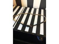 Black leather and chain belt,small size