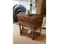 solid oak canted carved hall table with drawer