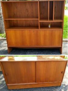 MCM TEAK 48 Inch Compact CREDENZA Buffet HUTCH Sideboard BAR Desk MidCentury Denmark Danish Scandinavian Small Space Set