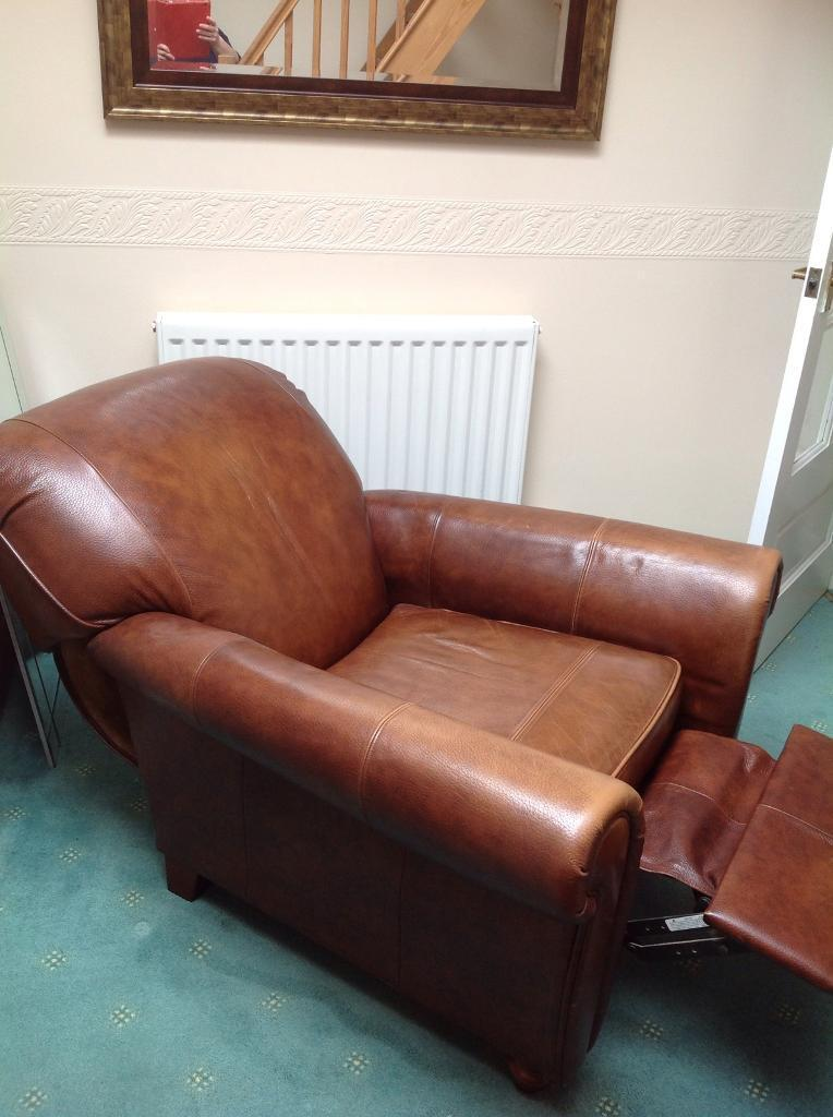 Laura Ashley Brown Leather Reclining Chair.