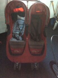 City p mini double buggie with carrycot and buggie board