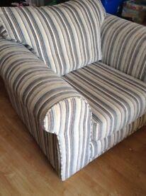 Next Teal/cream/grey striped arm chair