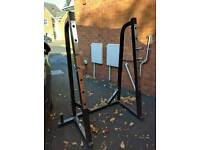Squat rack and bench with preacher attachments