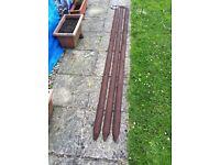 3 x 2.4m Half Round Wooden Posts pre-drilled for vine eye bolts ( inc ) + wire - £ 25