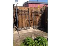 Pair of heavy duty steel iron gates