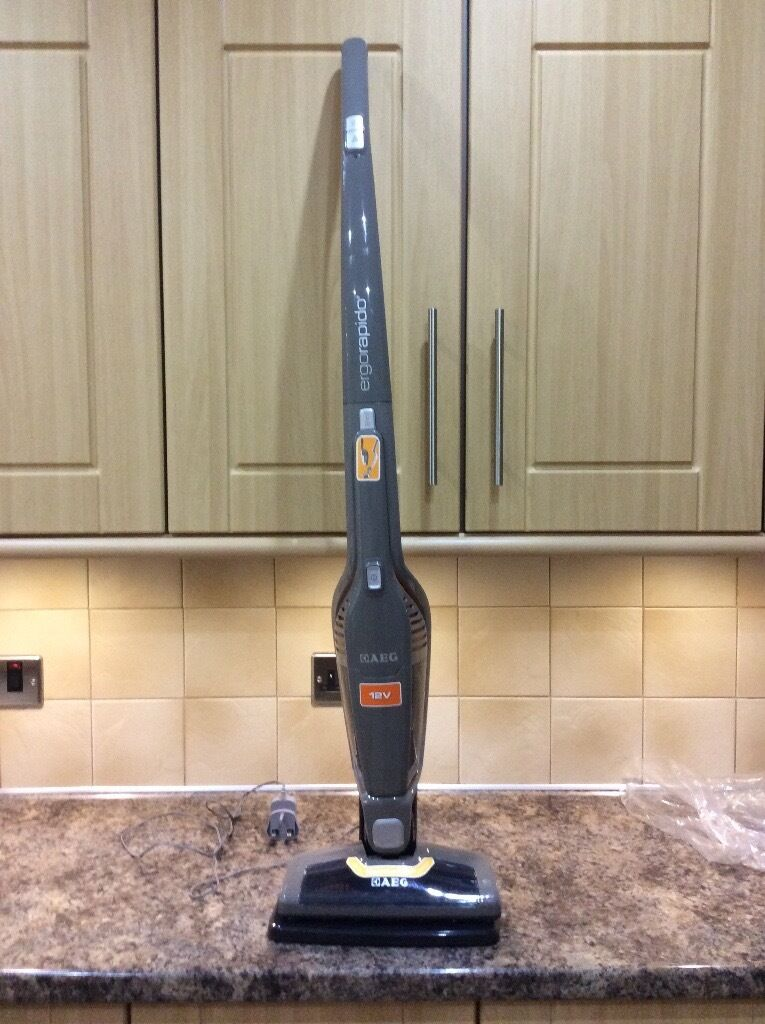 AEG Ergorapido 2in1 rechargeable vacuum cleanerin Kettering, NorthamptonshireGumtree - Used twice in new caravan, then serious illness forced sale of caravan. Throughly cleaned, as new, still in box