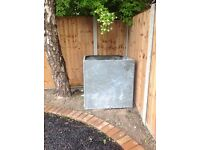 3ft x 3ft x3ft galvanised riveted water tank , no holes, original pipe outlets.