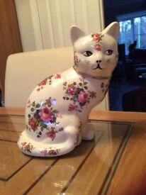Vintage Staffordshire Ironstone Cat floral 30cm ,Looks new. Unusual as full face painted. 1930s.