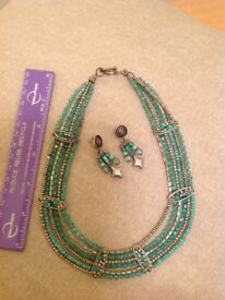 VINTAGE TURQUOISE NECKLACE WITH MATCHING EARRINGS