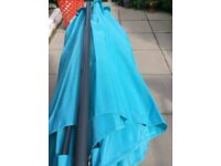 TURQUOISE GARDEN PARASOL UMBRELLA STILL WAITING FOR A NEW HOME