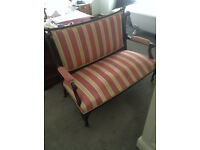 Pink/Gold Striped Mahogany Edwardian Style Two Seater Couch