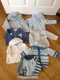 Bundle of baby boy jumpers and padded winter tops - 7 items - age up to 1 year