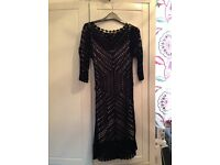 Coast black crochet dress size 10