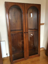 Bookcase – Victorian, solid oak, two glazed doors, 9 adjustable shelves