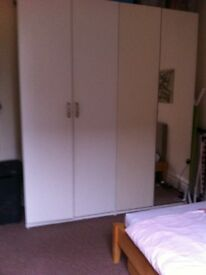 2 double Ikea wardrobes - white - one mirror door - tall size