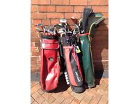Selection of golf clubs and 3 golf bags