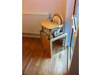 Mothercare wooden highchair. Converts to child's table and chair. VGC £40 ono