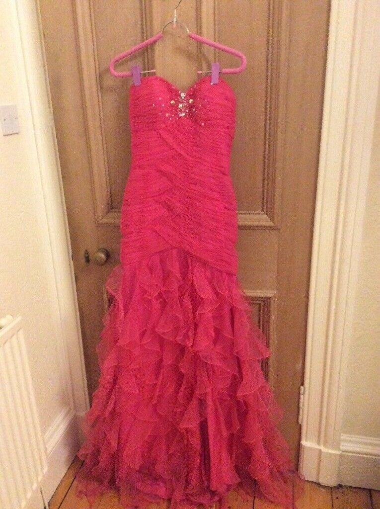 Fushia mermaid prom cocktail bridesmaid dress size 8/10